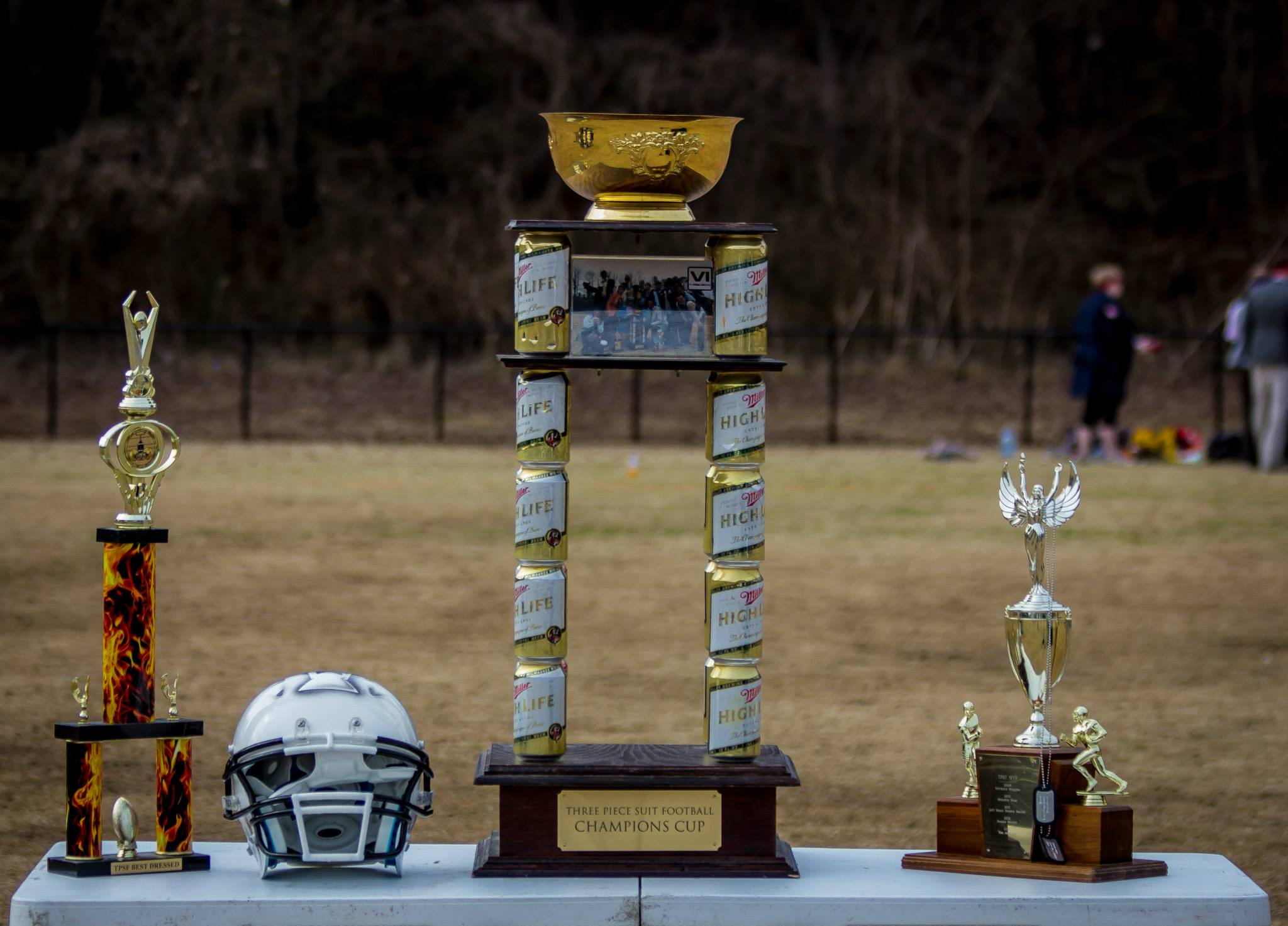 Atlanta Trophies given out at TPSF each year. From left to right: Best Dressed Trophy, Champions Cup, MVP Trophy